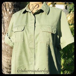 Victoria Jones Woman Tops - Military Green Denim Short Sleeved Top Size 1X EUC